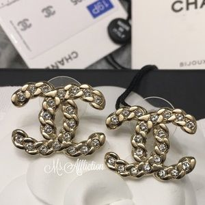CHANEL Authentic Crystal CC Gold Earrings NWT